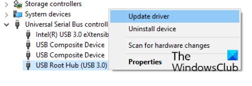 actualizar el concentrador raíz USB