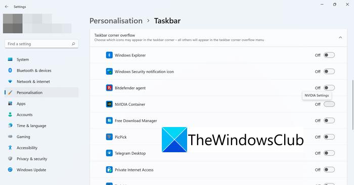 Desbordamiento de la esquina de la barra de tareas Windows 11