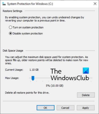 deshabilitar la restauración del sistema de windows 10