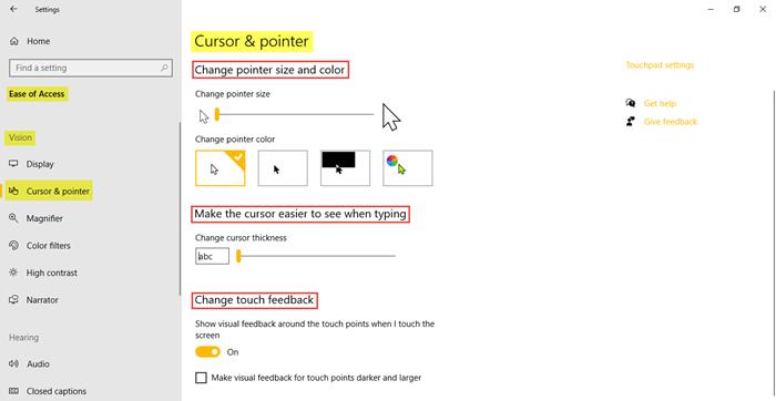 Configuración de accesibilidad en Windows 10