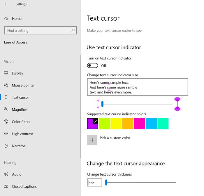 Ajustar el tamaño, el color y el grosor del indicador del cursor de texto