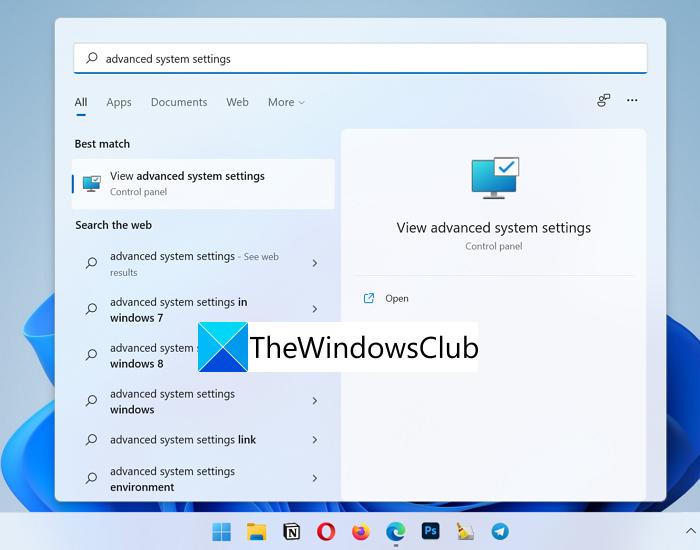 Configuración avanzada del sistema Windows 11