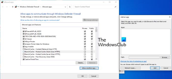 agregar excepciones Windows defender firewall