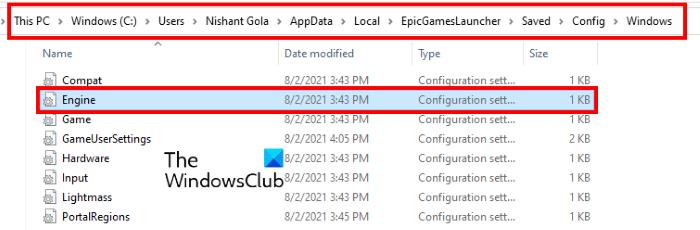 editar el archivo engine.ini Epic Games