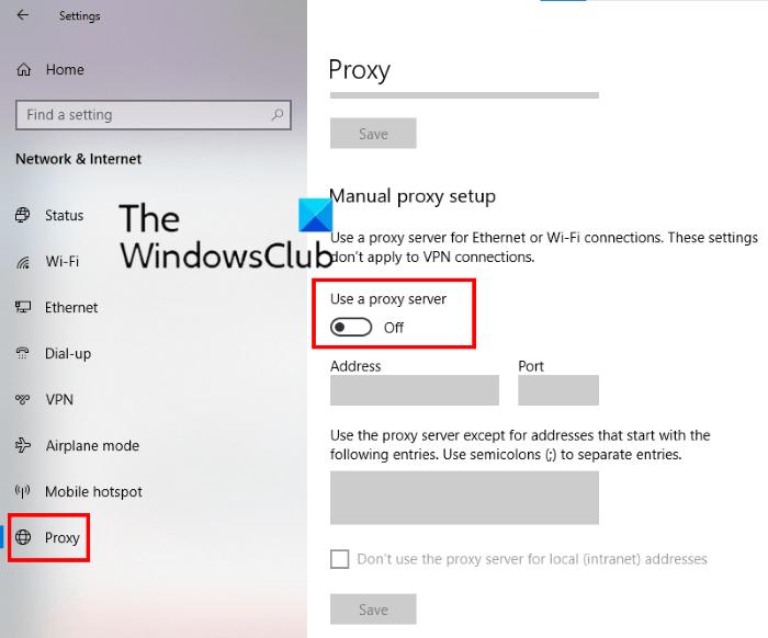 deshabilitar el servidor proxy de Windows 10
