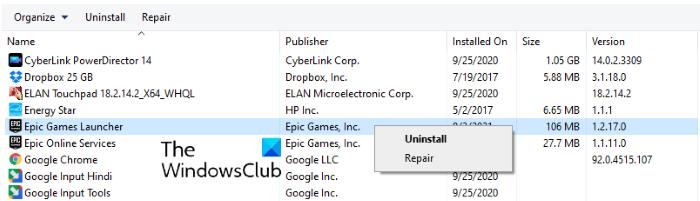 reparar Epic Games Launcher