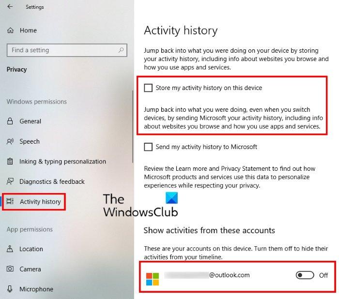 Deshabilitar la función de línea de tiempo de Windows 10