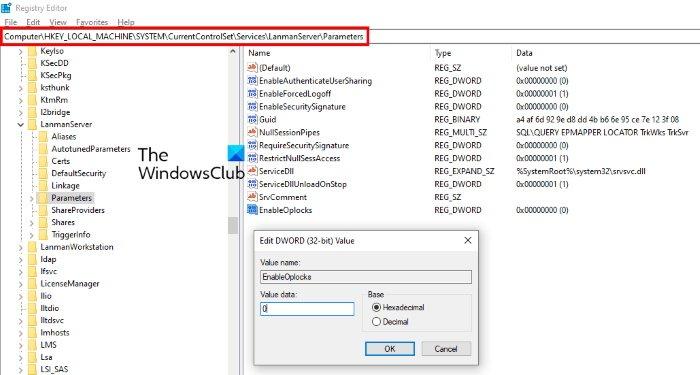 deshabilitar oplock en el servidor