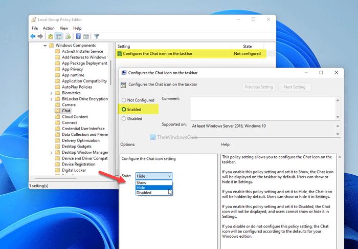 Cómo ocultar o eliminar el icono de chat de la barra de tareas en Windows 11