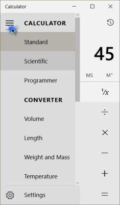 Calculadora de Windows 10