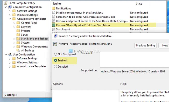 Cómo mostrar u ocultar la lista recomendada en el menú Inicio en Windows 11