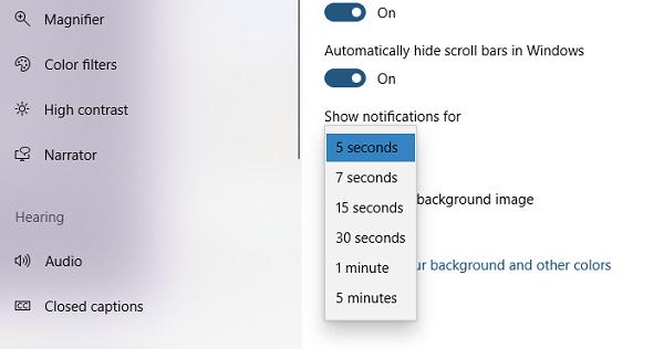 Cambiar el tiempo de notificación de Windows 10