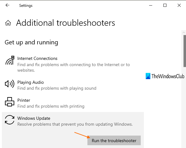 ejecutar el solucionador de problemas de Windows Update