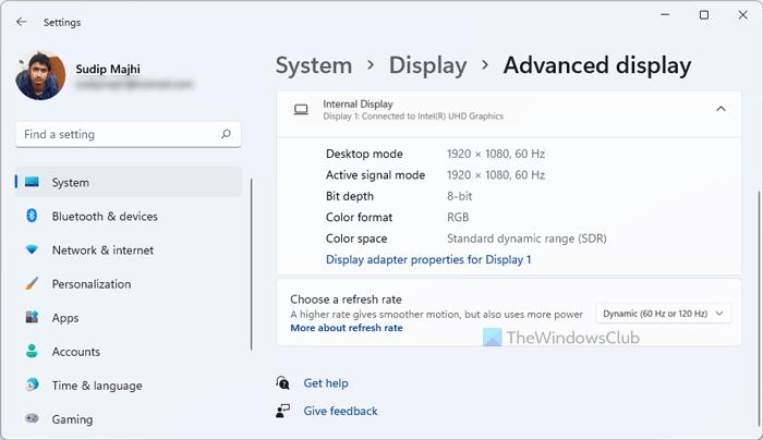 Cómo habilitar o deshabilitar la frecuencia de actualización dinámica (DRR) en Windows 11