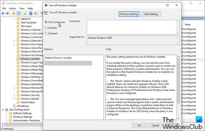 Desactivar la política de grupo de Windows Installer