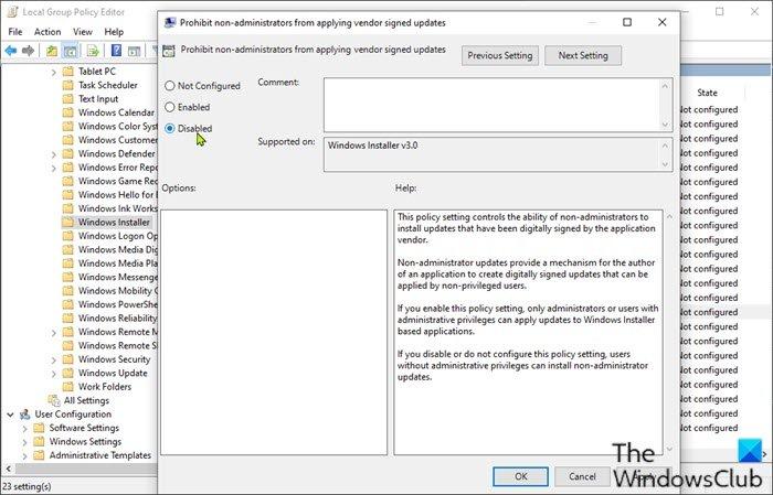Prohibir que los no administradores apliquen actualizaciones firmadas por el proveedor