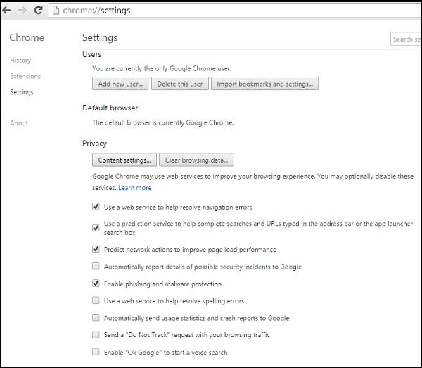 Solicitudes del administrador del sitio en Chrome