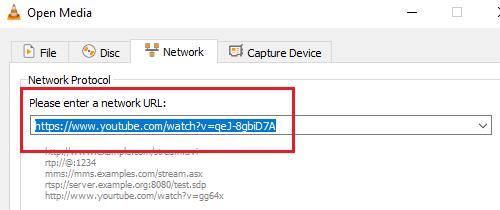 Ingrese una URL de red