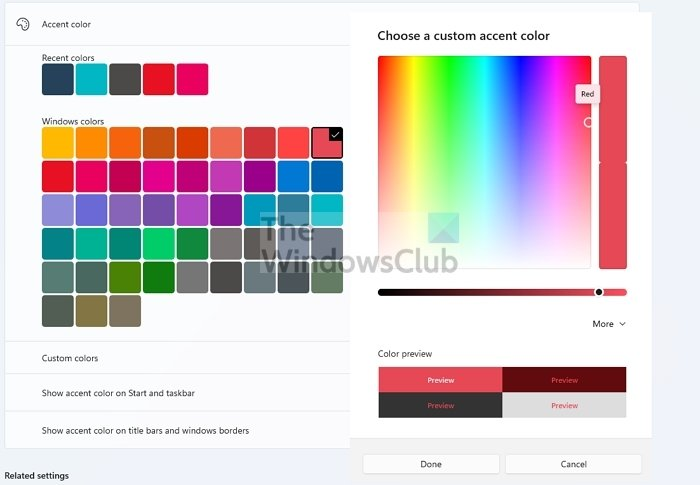 Ventanas de colores personalizados de color de acento