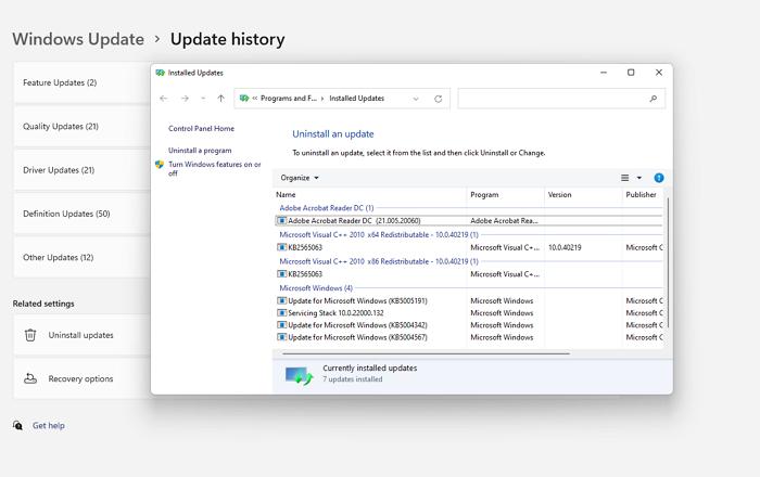 Desinstalar actualizaciones de Windows