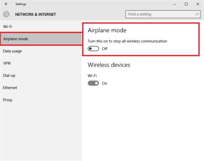 Modo avión en Windows 10