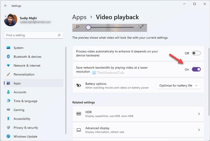 Ahorre ancho de banda de red reproduciendo video a una resolución más baja en Windows 11
