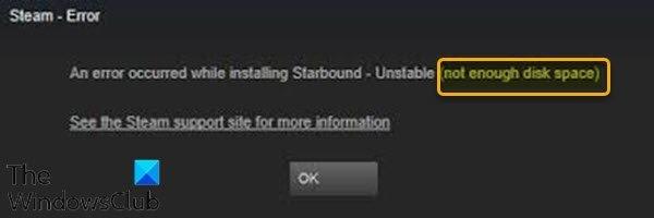 No hay suficiente espacio en disco: error de Steam