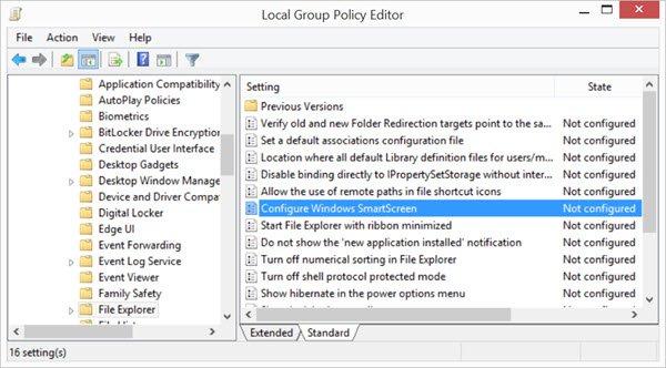 activar o desactivar el filtro SmartScreen