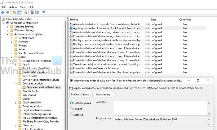 Política de grupo en capas en Windows 11