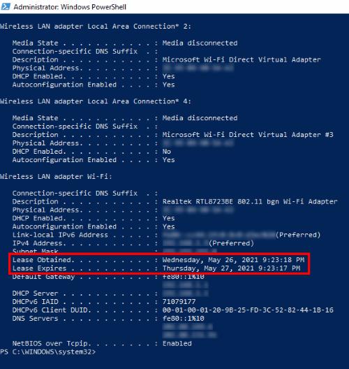 ver las ventanas de tiempo de arrendamiento de DHCP 10