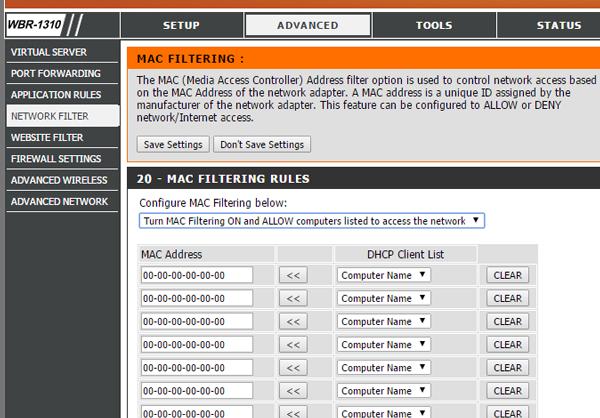 configurar el filtrado MAC en el enrutador Dlink