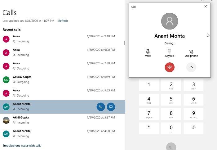 Su teléfono realiza llamadas usando el teclado de marcación de Windows