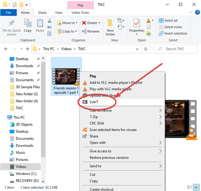 Descargar subtítulos para películas usando el menú contextual en Windows 11/10