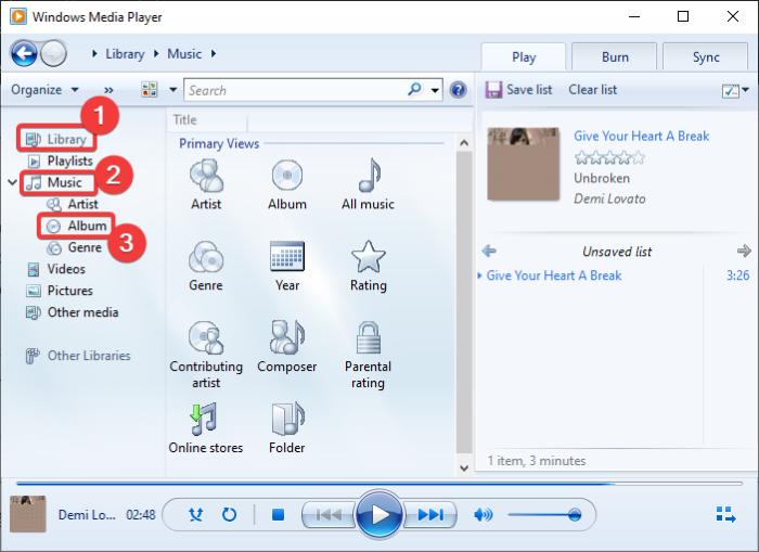 descargar y agregar títulos de pistas en Windows Media Player