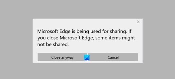 Microsoft Edge se está utilizando para compartir