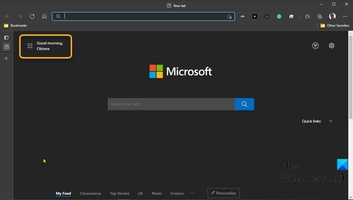 Habilitar o deshabilitar el saludo en el navegador Edge