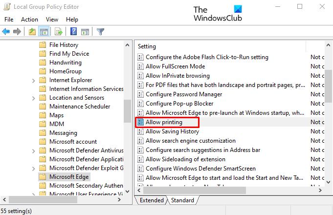 Habilitar o deshabilitar la impresión en Microsoft Edge en Windows 10