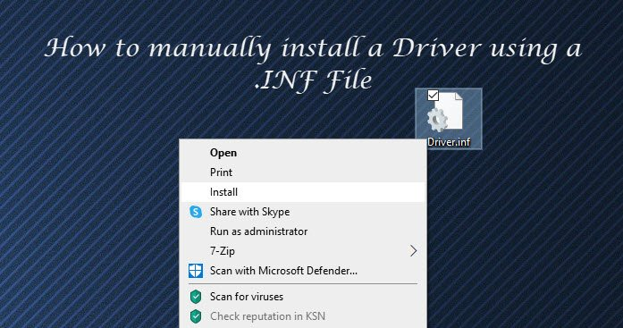 Cómo instalar manualmente un controlador usando un archivo .INF