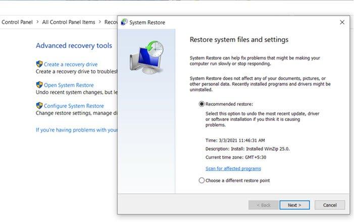 Restaurar Windows 10 con Restaurar sistema