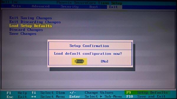 restaurar la configuración predeterminada de la BIOS