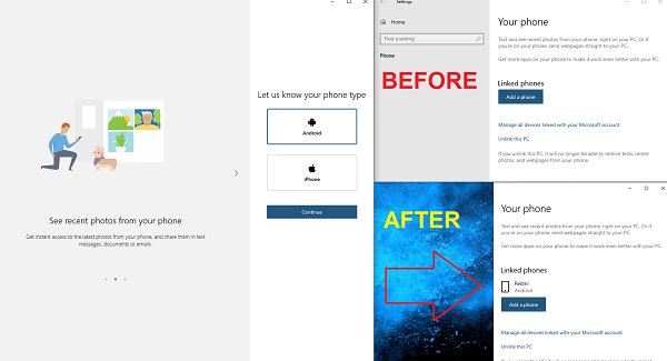 Su teléfono Configuración de Windows 10 Agregar teléfono