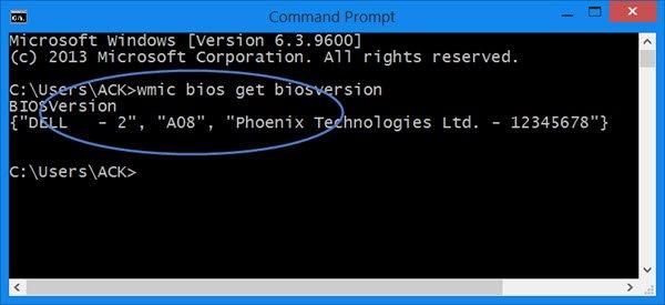 verificación de la versión de BIOS