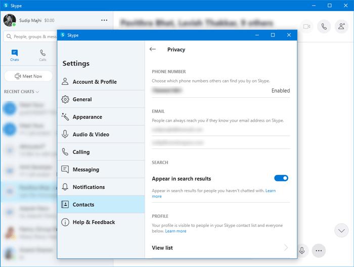 Configuración de privacidad de Skype