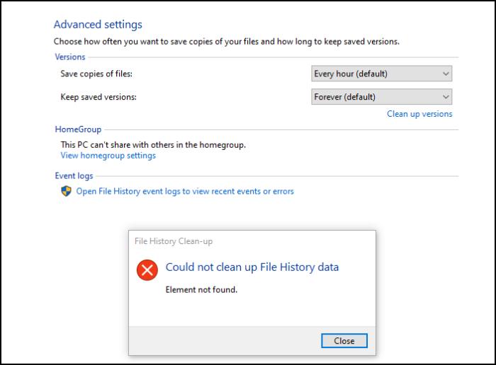 Elemento no encuentra error Windows 10