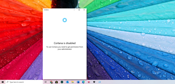 Cortana está deshabilitado en Windows 10: problema de permisos
