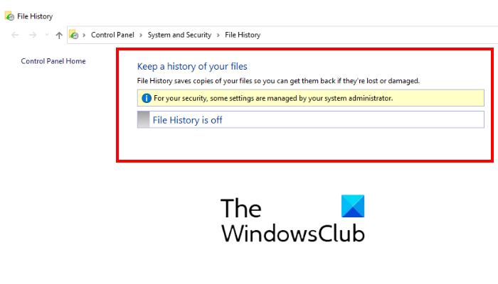 deshabilitar la copia de seguridad del historial de archivos en Windows 10