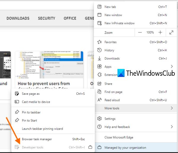 deshabilitar las herramientas de desarrollo de Microsoft Edge