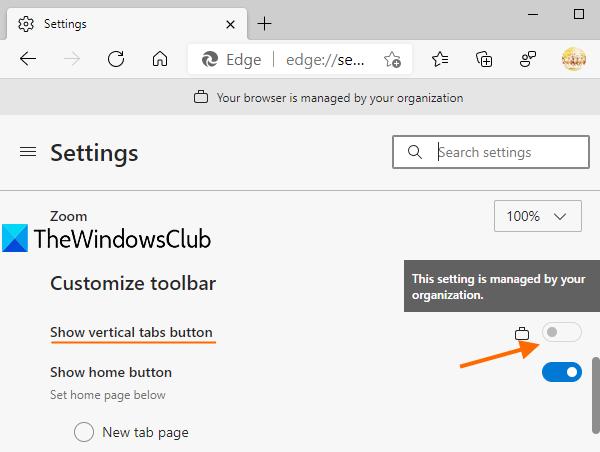 deshabilitar las pestañas verticales en Microsoft Edge