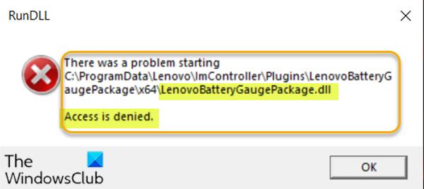 El acceso a LenovoBatteryGaugePackage.dll es denegado, falta o no se encuentran errores