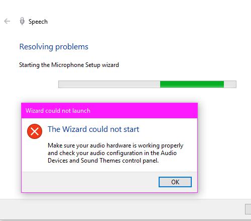 El asistente no pudo iniciar el micrófono en Windows 10